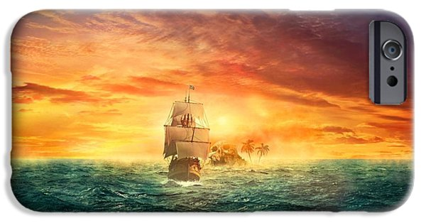 Pirate Ship iPhone Cases - Skull Island  iPhone Case by Movie Poster Prints