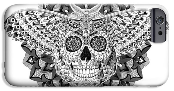 Mandalas iPhone Cases - Skull Moth iPhone Case by BioWorkZ