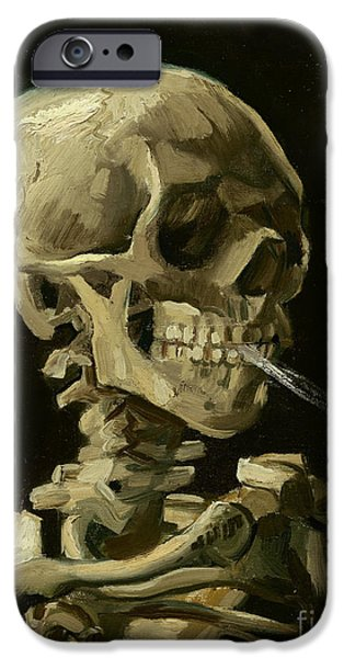 Berthe Paintings iPhone Cases - Skull of a Skeleton with Burning Cigarette  iPhone Case by Celestial Images