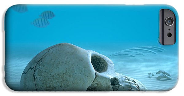 Concept Digital Art iPhone Cases - Skull on sandy ocean bottom iPhone Case by Johan Swanepoel