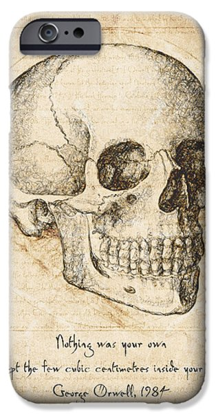 Eerie Drawings iPhone Cases - Skull Quote by George Orwell iPhone Case by Taylan Soyturk
