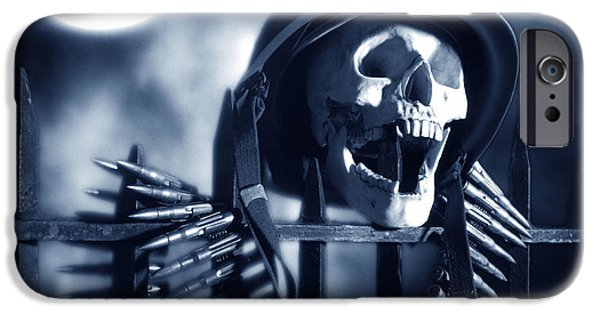 Macabre iPhone Cases - Skull iPhone Case by Tony Cordoza