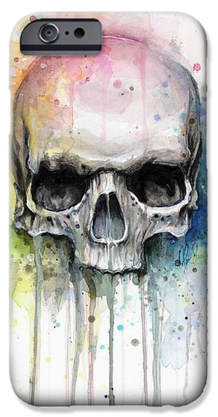 Olga Shvartsur iPhone Cases - Skull Watercolor Painting iPhone Case by Olga Shvartsur