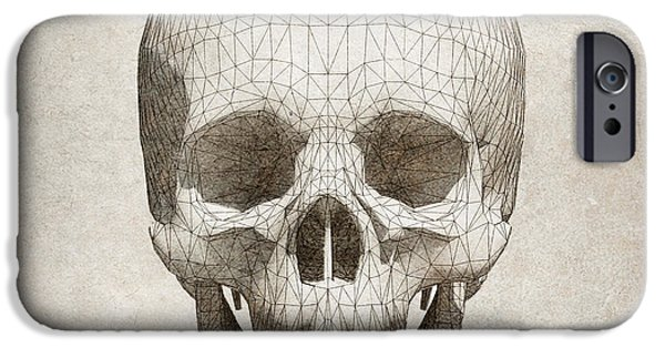 Nature Study iPhone Cases - Skull wireframe on paper.  iPhone Case by Thanes