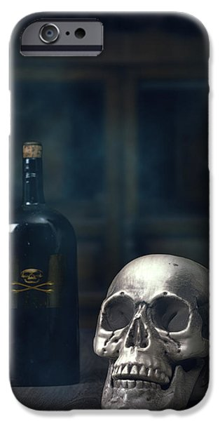 Poison iPhone Cases - Skull With Poison Bottle iPhone Case by Amanda And Christopher Elwell