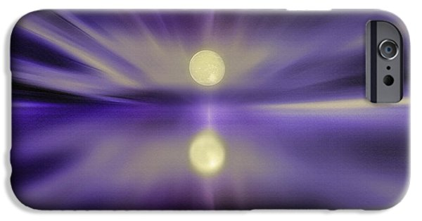 Sea Moon Full Moon Mixed Media iPhone Cases - Sky and Water - Moonrise iPhone Case by Steve Ohlsen