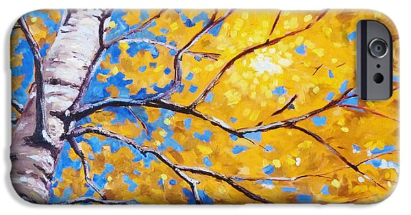 Business Paintings iPhone Cases - Sky Birch iPhone Case by Nancy Merkle