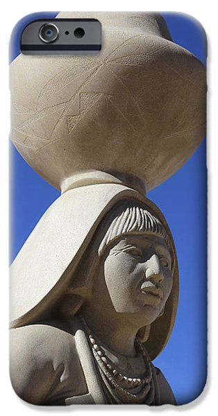 Pueblo iPhone Cases - Sky City Cultural Center Statue 2 iPhone Case by Mike McGlothlen