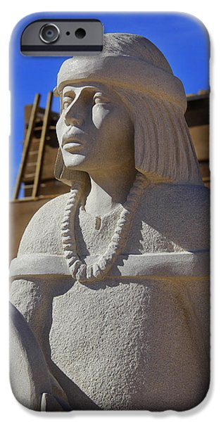 Pueblo iPhone Cases - Sky City Cultural Center Statue iPhone Case by Mike McGlothlen