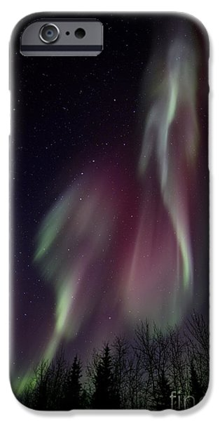 Northern Lights iPhone Cases - Sky Dancer iPhone Case by Priska Wettstein
