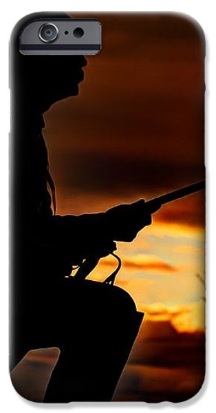 Sky Fire - 1st PA Cavalry Regiment-A1 Cemetery Ridge Near Copse of Trees Dawn Autumn Gettysburg iPhone Case by Michael Mazaika