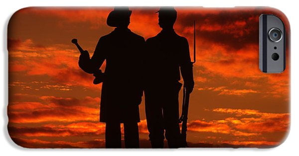 Yankee Division iPhone Cases - Sky Fire - 73rd NY Infantry Fourth Excelsior Second Fire Zouaves-A1 Sunrise Autumn Gettysburg iPhone Case by Michael Mazaika