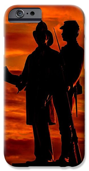 Yankee Division iPhone Cases - Sky Fire - 73rd NY Infantry Fourth Excelsior Second Fire Zouaves-B1 Sunrise Autumn Gettysburg iPhone Case by Michael Mazaika