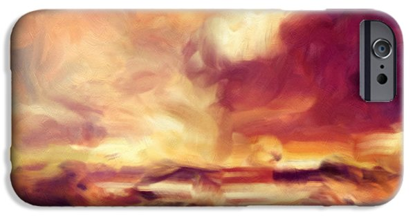 Abstract Digital Mixed Media iPhone Cases - Sky Fire Abstract Realism iPhone Case by Georgiana Romanovna