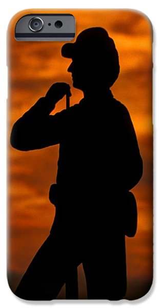 Sky Fire - Flames of Battle 7th Pennsylvania Reserve Volunteer Infantry-A1 Sunset Antietam iPhone Case by Michael Mazaika