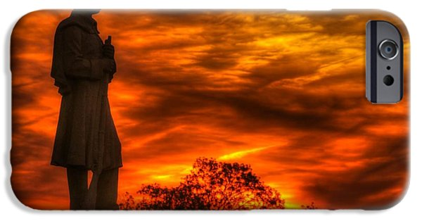Yankee Division iPhone Cases - Sky Fire - West Virginia at Gettysburg - 7th WV Volunteer Infantry Vigilance on East Cemetery Hill iPhone Case by Michael Mazaika