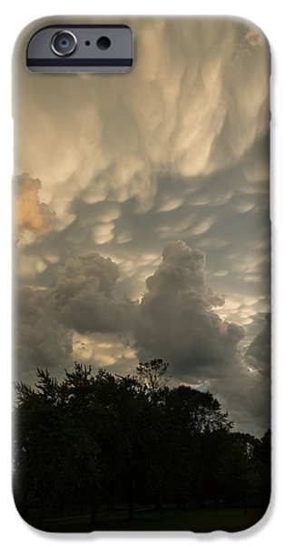 Turbulent Skies iPhone Cases - Sky Painting - Mammatus Clouds After A Storm iPhone Case by Georgia Mizuleva