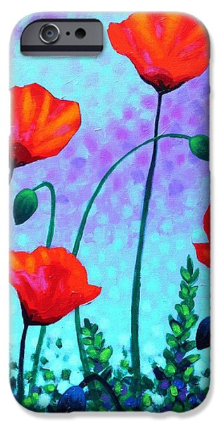 Landscape Acrylic Prints iPhone Cases - Sky Poppies iPhone Case by John  Nolan