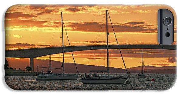 Norwegian Sunset iPhone Cases - Skye Bridge Sunset iPhone Case by Chris Thaxter