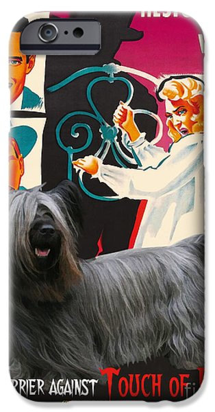 Portrait Of Evil iPhone Cases - Skye Terrier Art Canvas Print - Touch of Evil Movie Poster iPhone Case by Sandra Sij