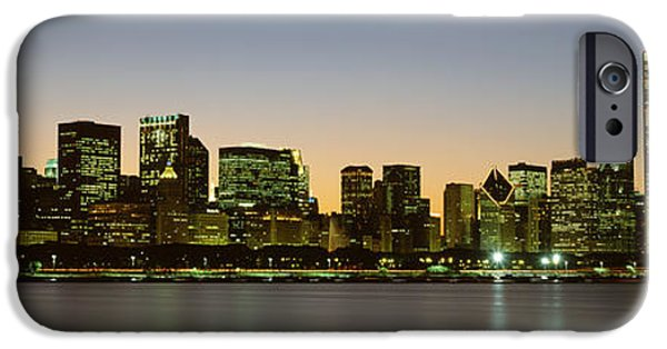 Sears Tower iPhone Cases - Skyline At Dusk Chicago Il Usa iPhone Case by Panoramic Images