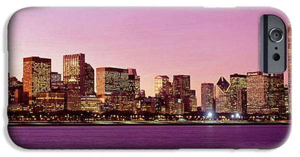 Lake Front iPhone Cases - Skyline At Sunset, Chicago, Illinois iPhone Case by Panoramic Images