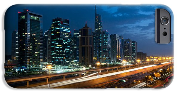 World Destination iPhone Cases - Skyline At Sunset, Dubai iPhone Case by Bill Bachmann