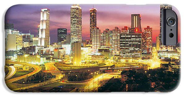 Ga iPhone Cases - Skyline, Evening, Dusk, Illuminated iPhone Case by Panoramic Images