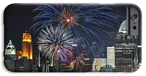 Best Sellers -  - Fireworks iPhone Cases - Skyline Fireworks iPhone Case by Tim Meredith