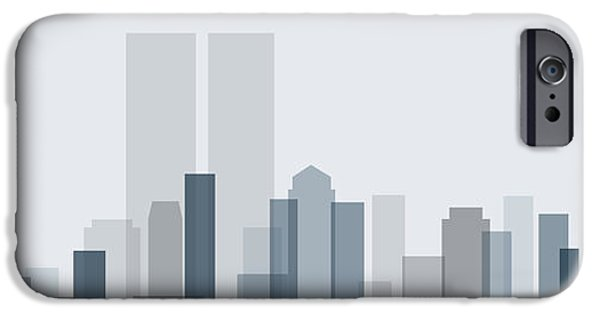 Business Digital iPhone Cases - Skyline Landscape Design iPhone Case by Giuseppe Persichino