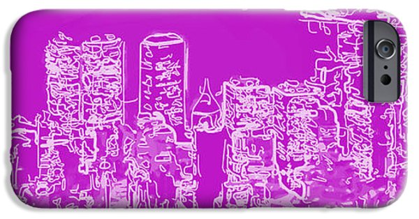 Pinks iPhone Cases - Skyline Number 7 iPhone Case by Gina Dsgn