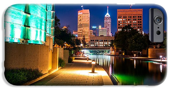 Indianapolis iPhone Cases - Skyline of Indianapolis Indiana from the Canal Walk iPhone Case by Gregory Ballos