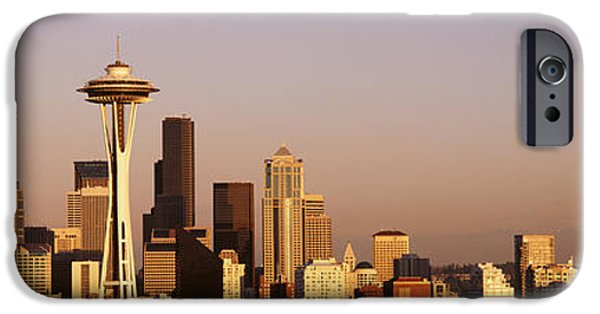Rainy Day iPhone Cases - Skyline, Seattle, Washington State, Usa iPhone Case by Panoramic Images