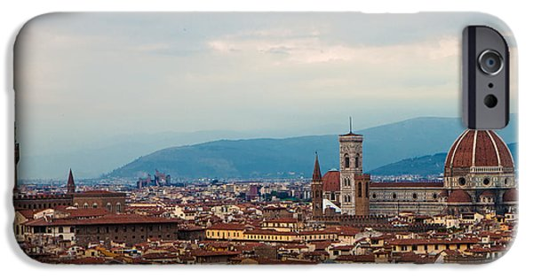 Florence Cathedral iPhone Cases - Skyline view of Florence Italy iPhone Case by Susan  Schmitz