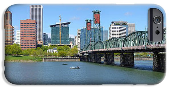 Connection iPhone Cases - Skylines At The Waterfront, Portland iPhone Case by Panoramic Images