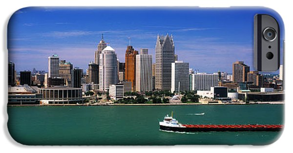 Renaissance Center iPhone Cases - Skylines At The Waterfront, River iPhone Case by Panoramic Images