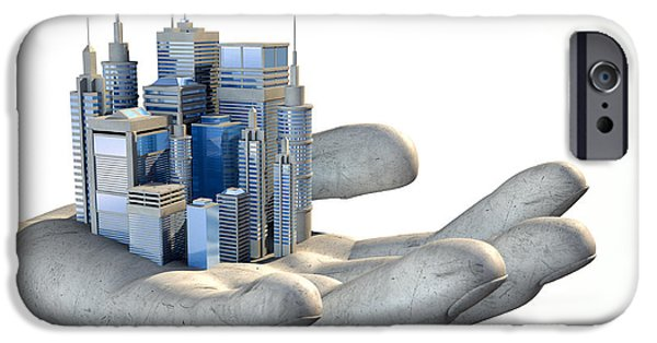 Debt iPhone Cases - Skyscraper City In The Palm Of A Hand iPhone Case by Allan Swart
