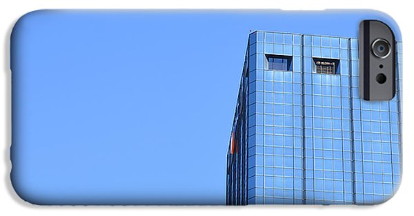 Architect iPhone Cases - Skyscraper Photography - Blue On Blue - By Sharon Cummings iPhone Case by Sharon Cummings