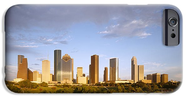 Connection iPhone Cases - Skyscrapers Against Cloudy Sky iPhone Case by Panoramic Images