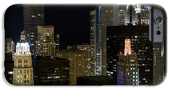 Fireworks iPhone Cases - Skyscrapers And Firework Display iPhone Case by Panoramic Images