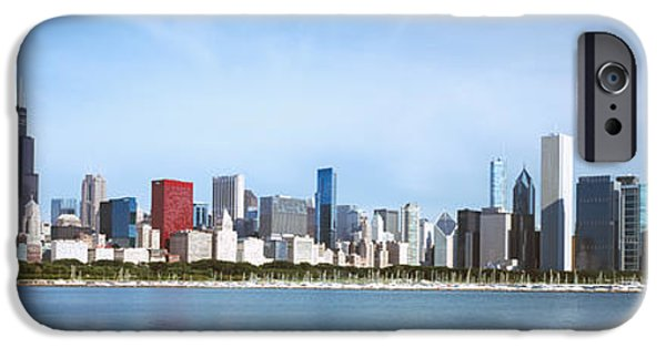 Willis Tower iPhone Cases - Skyscrapers At The Waterfront, Chicago iPhone Case by Panoramic Images