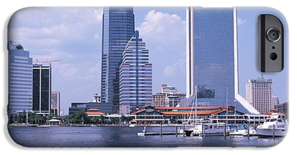 St. Johns River iPhone Cases - Skyscrapers At The Waterfront, Main iPhone Case by Panoramic Images