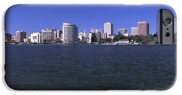 Office Block iPhone Cases - Skyscrapers At The Waterfront, Oakland iPhone Case by Panoramic Images