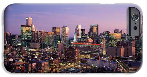 Built Structure iPhone Cases - Skyscrapers In A City Lit Up At Dusk iPhone Case by Panoramic Images