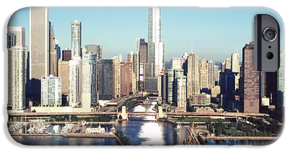 Willis Tower iPhone Cases - Skyscrapers In A City, Navy Pier iPhone Case by Panoramic Images