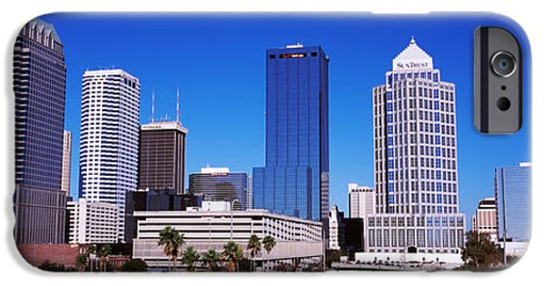 Built Structure iPhone Cases - Skyscrapers In A City, Tampa, Florida iPhone Case by Panoramic Images