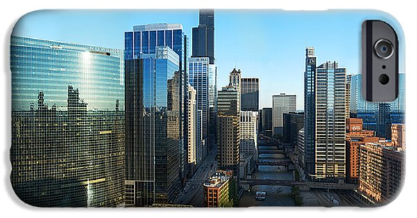 Willis Tower iPhone Cases - Skyscrapers In A City, Willis Tower iPhone Case by Panoramic Images