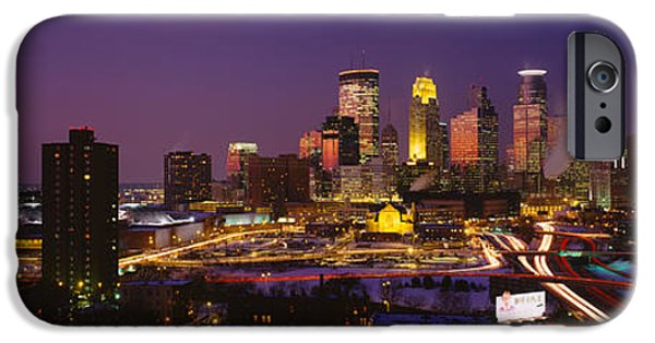 Minnesota iPhone Cases - Skyscrapers Lit Up At Dusk iPhone Case by Panoramic Images