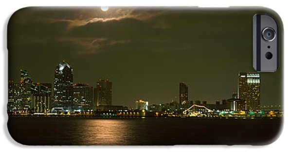 Sea Moon Full Moon Photographs iPhone Cases - Skyscrapers Lit Up At Night, Coronado iPhone Case by Panoramic Images
