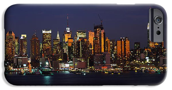 Hudson River iPhone Cases - Skyscrapers Lit Up At Night In A City iPhone Case by Panoramic Images